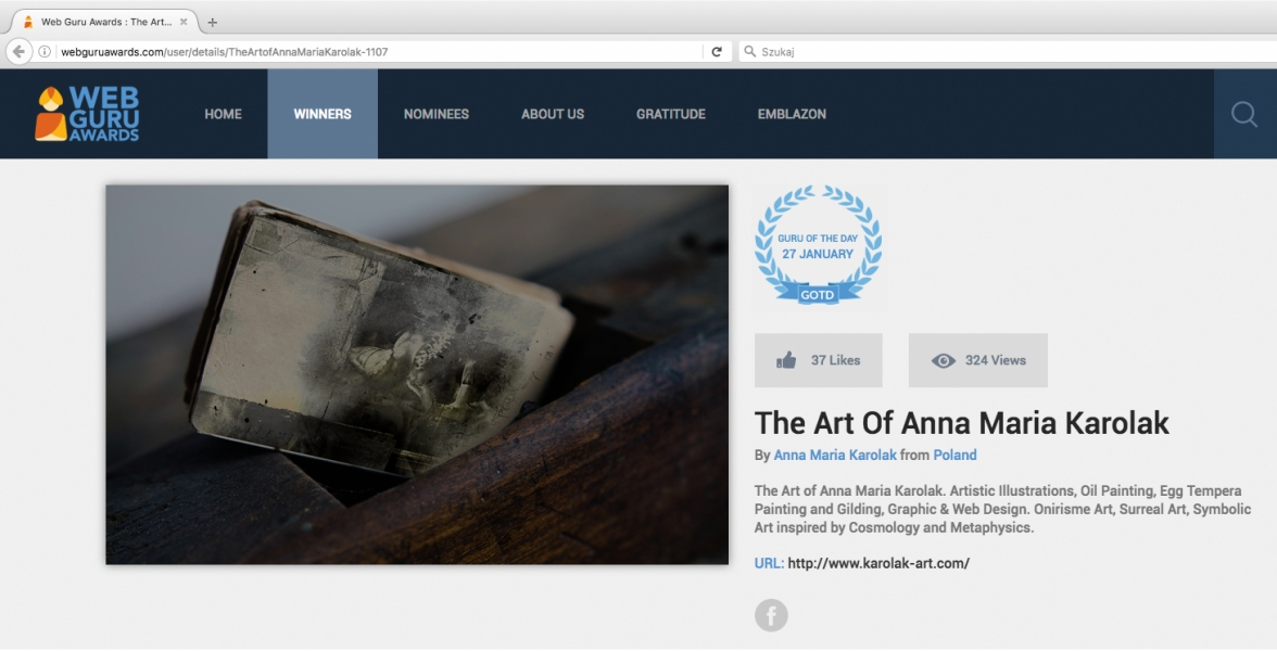 Web Guru Awards - the Winner - the Guru of The Day: the Art of Anna Maria Karolak.